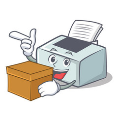 With box printer character cartoon style vector