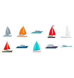 yacht icon set flat style vector image