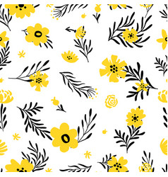 yellow flower pattern doodle spring background vector image