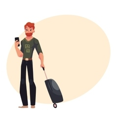 Young man with suitcases and phone in jeans t vector image