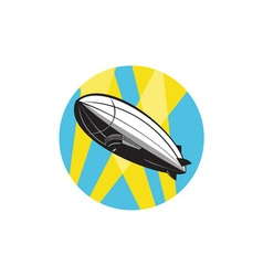 Zeppelin Blimp Flying Overhead Circle Retro vector