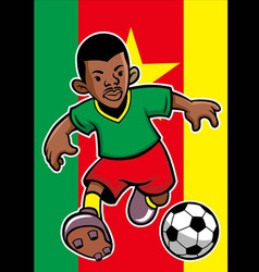 Cameroon soccer player with flag background vector