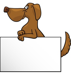 cartoon dog with board or card design vector image vector image