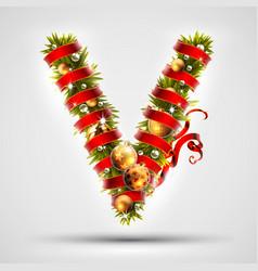 christmas font letter v of christmas tree vector image vector image
