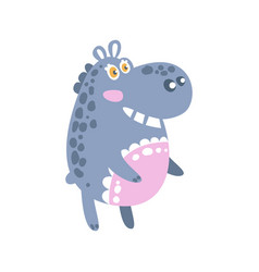 Cute cartoon hippo character standing side view vector