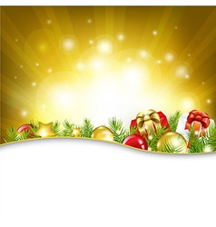 Gold New Year Card With Garland vector image