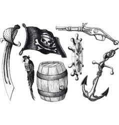 Pirate set attributes vector image