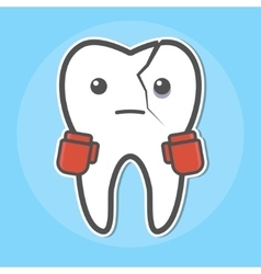Tooth with a crack wear boxing gloves vector