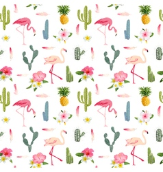 Tropical Background Flamingo Bird Cactus vector image vector image