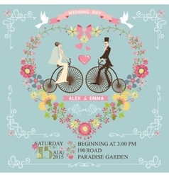 Wedding invitationBridegroom on retro bike vector image vector image
