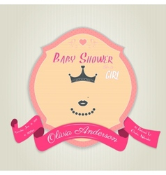 Baby shower invitation with princess with a crown vector image vector image
