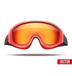 Classic red snowboard ski goggles with colorful vector