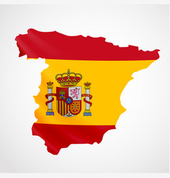 hanging spain flag in form of map kingdom of vector image