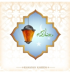 Ramadan greeting card design with lantern vector image vector image