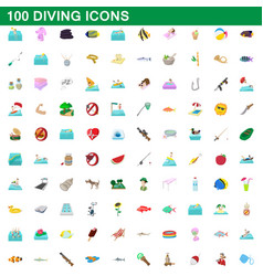 100 diving icons set cartoon style vector image vector image