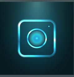blue metallic web icon of modern camera vector image