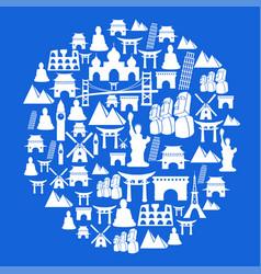 blue travel landmark circle background vector image