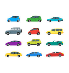 cartoon cars color icons set vector image vector image