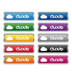 Cloud metallic rectangular buttons vector image vector image