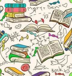 Doodle seamless pattern of books and childrens vector image vector image