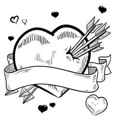 doodle valentines heart banner vector image vector image