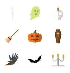 flat icon celebrate set of zombie broom vector image vector image