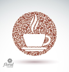 Flower-patterned cup of coffee with aromatic steam vector image vector image