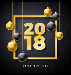 Happy new year 2018 with gold number vector