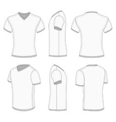 Mens white short sleeve t-shirt v-neck vector image vector image