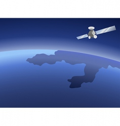 satellite over planet vector image vector image