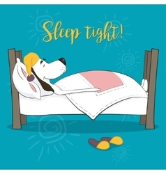 The lovely animation dog sleeps in a bed Wish vector image vector image