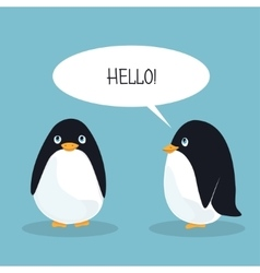 Two ridiculous animation penguins welcome each vector image vector image
