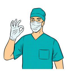 doctor shows ok gesture pop art vector image