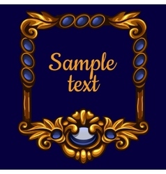 Golden frame with text on a blue background vector image vector image