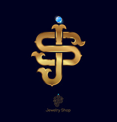 initials s and j logo golden letters vector image