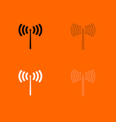 radio signal black and white set icon vector image