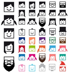 user avatars people icon set vector image vector image
