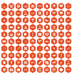 100 mens team icons hexagon orange vector