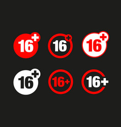 A sixteen years over icon set vector