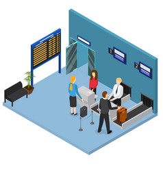 Airport check in interior isometric view vector