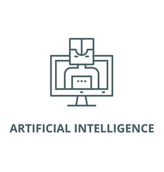artificial intelligence computer line icon vector image