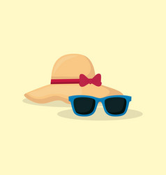 beach hat and sunglasses vector image