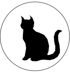 black silhouette of cat in white background vector image