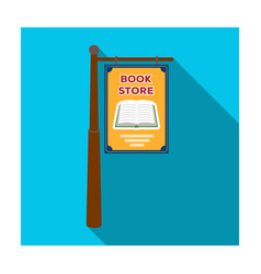Bookstore signage icon in flat style isolated on vector