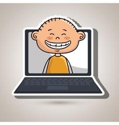Boy laptop student cap vector