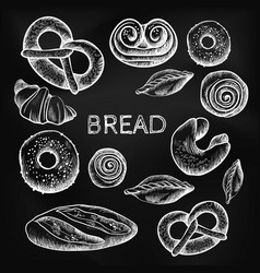 bread items set isolated on dark grey vector image