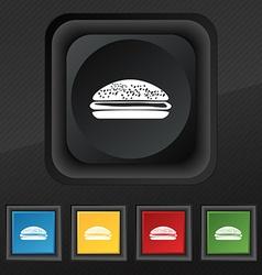 Burger hamburger icon symbol Set of five colorful vector image