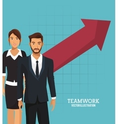 Business people teamwork growth arrow vector
