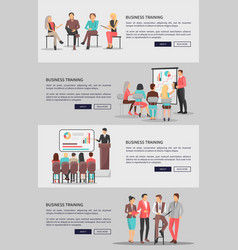 Business training web posters set coworkers vector