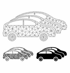 Car traffic mesh carcass model and triangle vector
